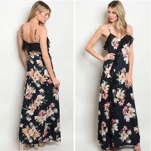 Dresses & Skirts - Women's Ruffle Trim Floral Print Maxi Dress